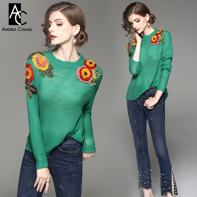 95ffec79bd4 autumn winter woman outfit 3d yellow red embroidered flower applique  shoulder green sweater beading bottom jeans fashion outfit