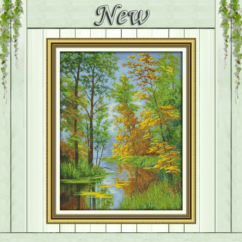 River Reflection view countryside Scenery Counted print on canvas DMC 14CT 11CT DMS Cross Stitch Needlework