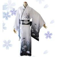 Elegant Print Flower Women Kimono Yukata With Obi Vintage Classic Geisha Clothing Japanese Style Haori Robe Gown Cosplay Costume