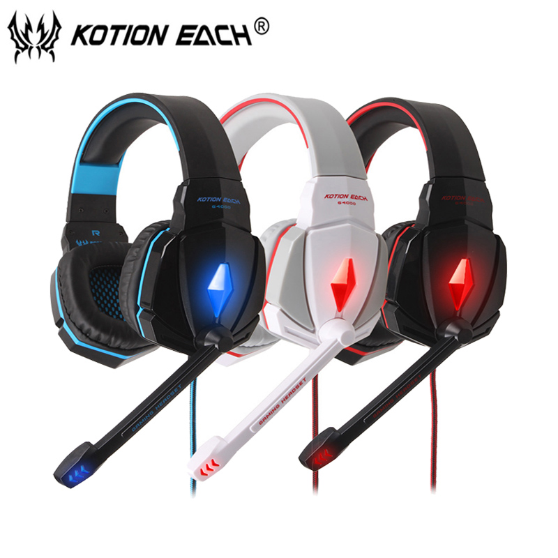 KOTION EACH G4000 Gaming Headset Wired headphones Game earphone with microphone led noise canceling headphone for computer pc each g8200 gaming headphone 7 1 surround usb vibration game headset headband earphone with mic led light for fone pc gamer ps4