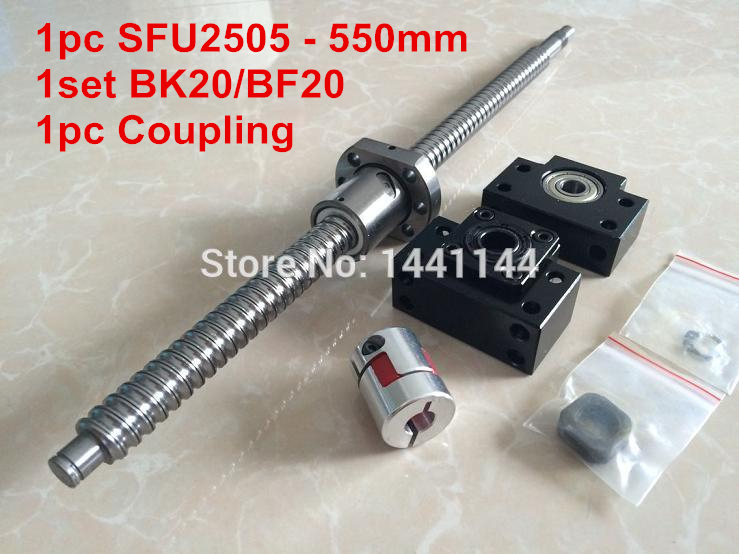 1pc SFU2505- 550mm ballscrew with ball nut + BK20/BF20 Support + 17*14mm Coupling, according to BK20/BF20 end machined CNC Parts