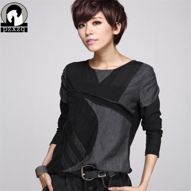 spring T Shirt Fashion Sexy Lace Stitching Leather Fight Personality Harajuku Long Sleeved T-shirt Women Plus Size Punk Tops