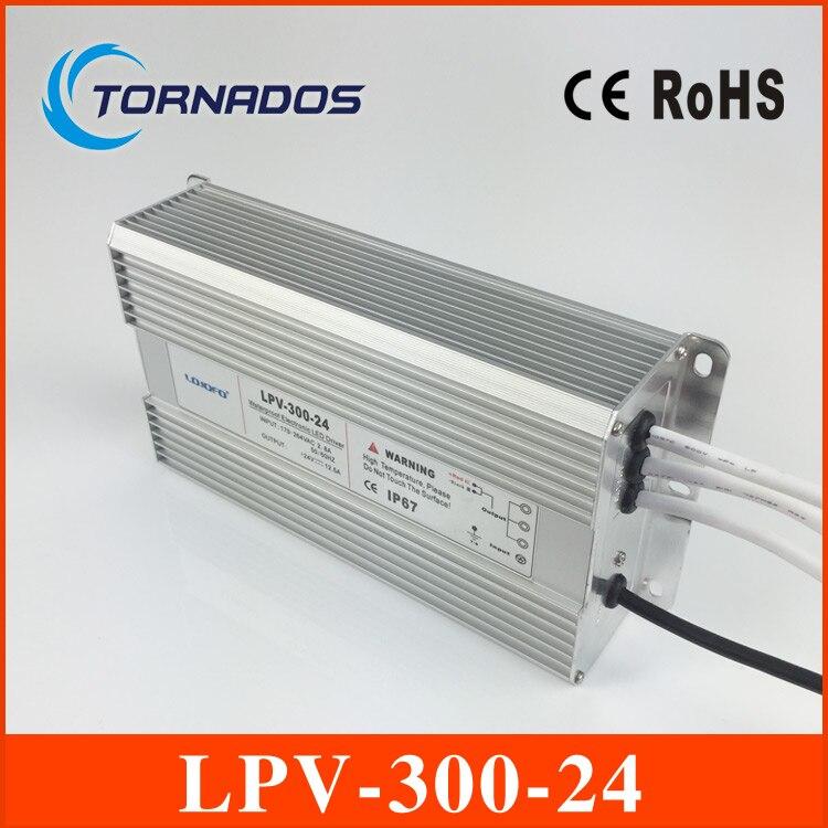 Haute qualité 300 W 220vac entrée 24 V dc tension constante étanche IP67 LED pilote alimentation transformateur LPV-300-24