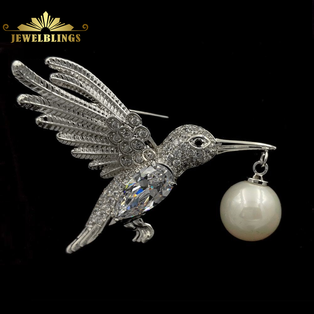 Art Deco Vintage Micro Pave Clear CZ Flying Profile Bird Brooch Silver Tone Hanging Imitated Pearl and Bird Pins Animal Jewelry