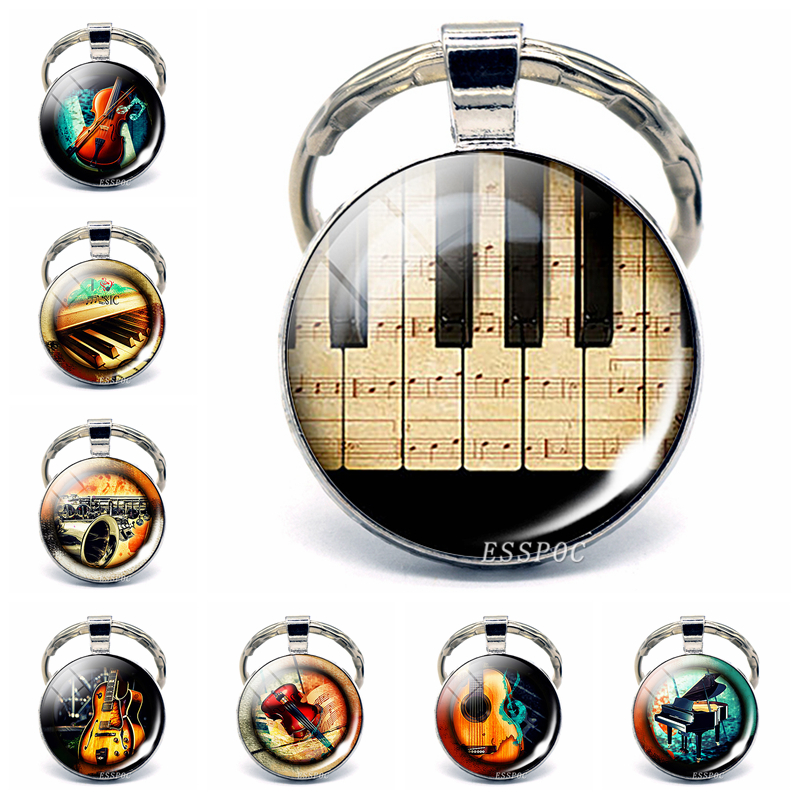 Piano Keyboard Photo Pendant Key Chain Vintage Silver Color Keyring Fashion Musical Instruments Glass Pendant Jewelry Best Gifts