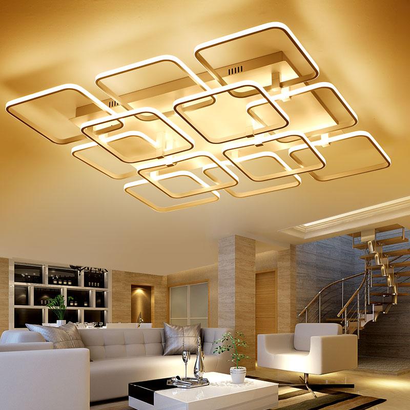 New modern led ceiling chandelier lights for living room bedroom square art Indoor acrylic Ceiling chandelier Lamp Fixtures