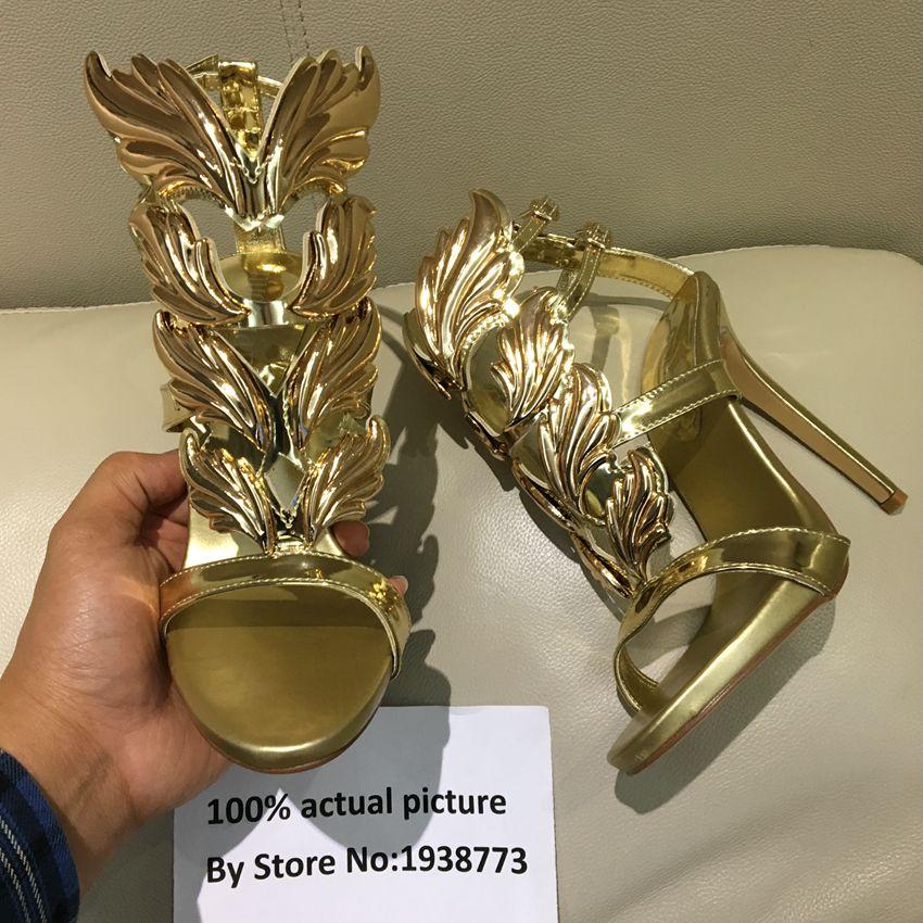 2017 New Arrival Women Open Toe Sandals Gold Leaf Sandal Ankle Strap Gladiator Sandals Summer Shoes Woman Sandalias Ladies Shoes