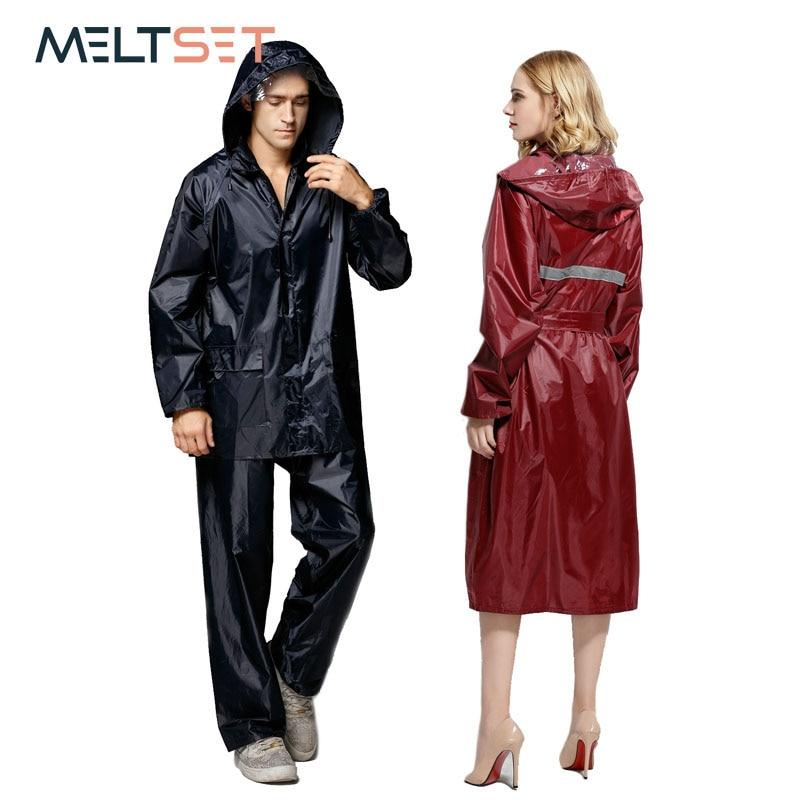 Women Men Rainsuit Plus Size Raincoat Motorcycle Rainwear Waterproof Trench Coat Impermeable Rain Clothes Overall Rain Poncho