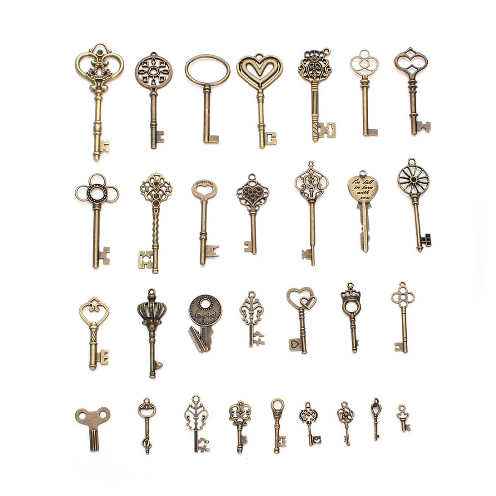 59x11mm Key Pendants 2 Key Heart Pattern Antique Bronze Jewelry Making Supplies  G1633