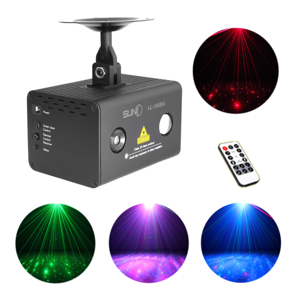AUCD Mini Remote Red Green RG Laser Stage Lighting RGB LED Galaxy Meteor Sound AUTO Mode Show Disco Party DJ Light LL-100RG 3 lens 36 patterns rg blue mini led stage laser lighting professinal dj light red gree blue