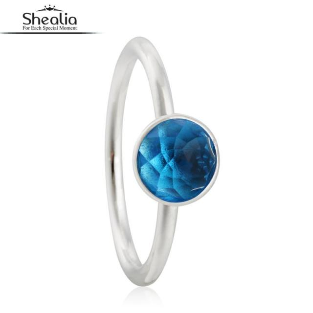 SHEALIA December Birthstone Droplet Engagement Ring Real 925 Sterling Silver Jewelry Round Facets Floral Crystal Rings For Women