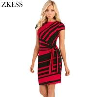 Zkess لونين مخطط عقدة غمد اللباس الجانبية التعادل النساء قصيرة الأكمام ليلة فساتين نادي الحزب bodycon مصغرة LC61657