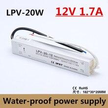Hohe Qualität IP67 20 Watt 12 V 1.7A wasserdicht Stromversorgung Treiber Adapter Spannungswandler für Led-streifen licht, 90-260vac eingang