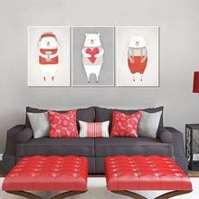 Paintings Cartoon White Bear Decorative Living Room Mural Kids Animal Posters Nursery And Prints