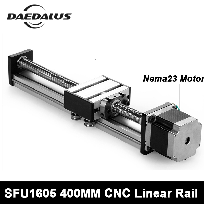 Linear Rail Cnc Router Ballscrew 1605 400mm Travel Length Linear Guide Rail Cnc Stage Motion Mould + Nema23 Stepper Motor cnc linear guide 700mm linear mould sfu1605 rail part nema23 stepper motor 57 motor for cnc work table