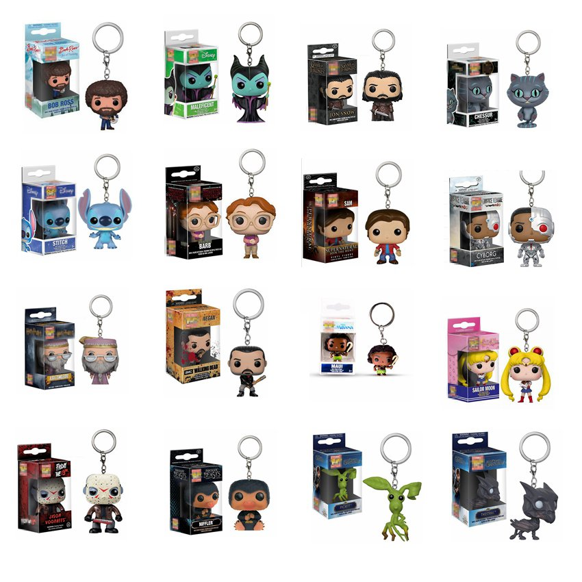 Supernatural Sam Walking Dead Figures Toy Game of Thrones Fantastic Beasts Harri Potter Pocket Keychain For Gifts With Box image