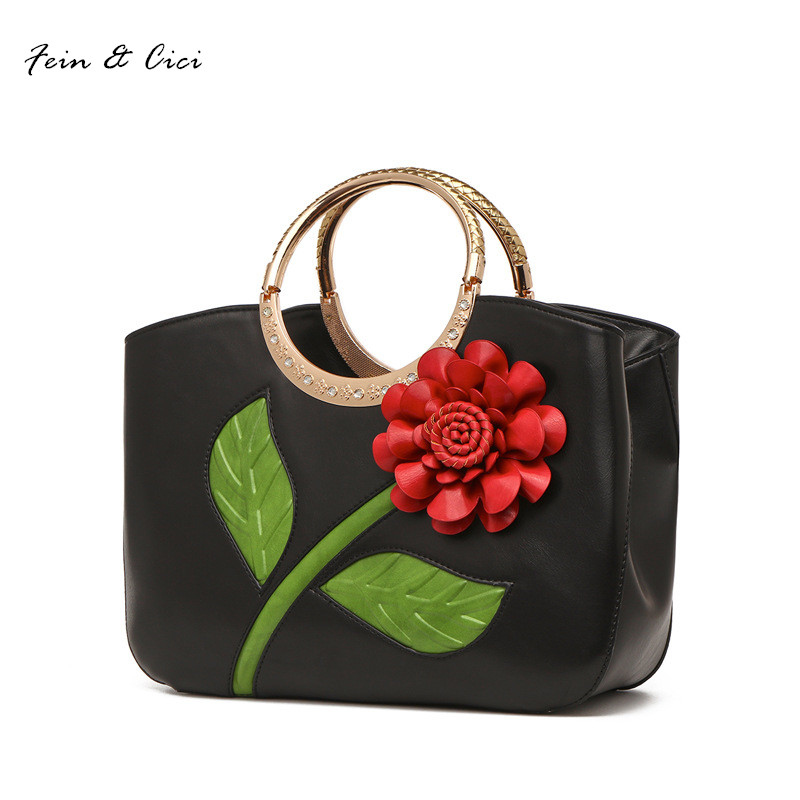floral totes handbag lady women appliques flower bag summer 2017 large shopping bag white green red purple black blue color saf green leaves rose foldable red shopping bag handbag