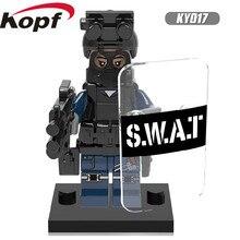 Única Venda Super Heroes Figuras Militares Da Polícia com Escudo Arma Arma Modelo de Construção Tijolos Blocos Crianças Brinquedos de Presente KY017