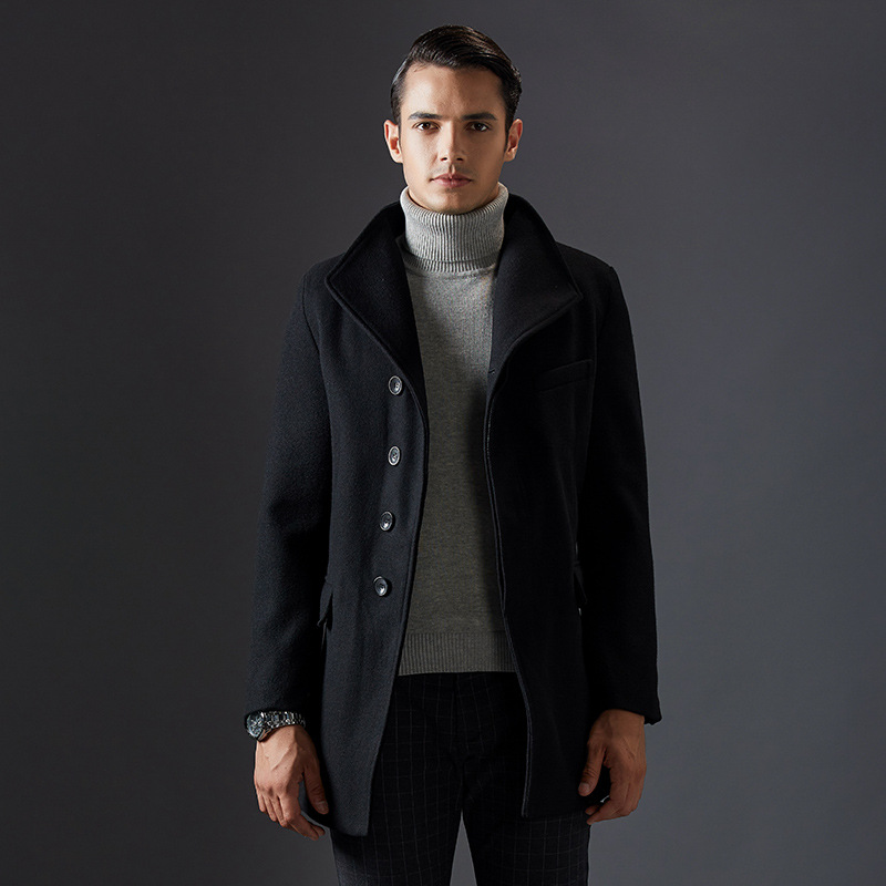 New Arrival Thick Single Breasted Long Winter Coats Men Fashion Good Quality Male Wool Coat