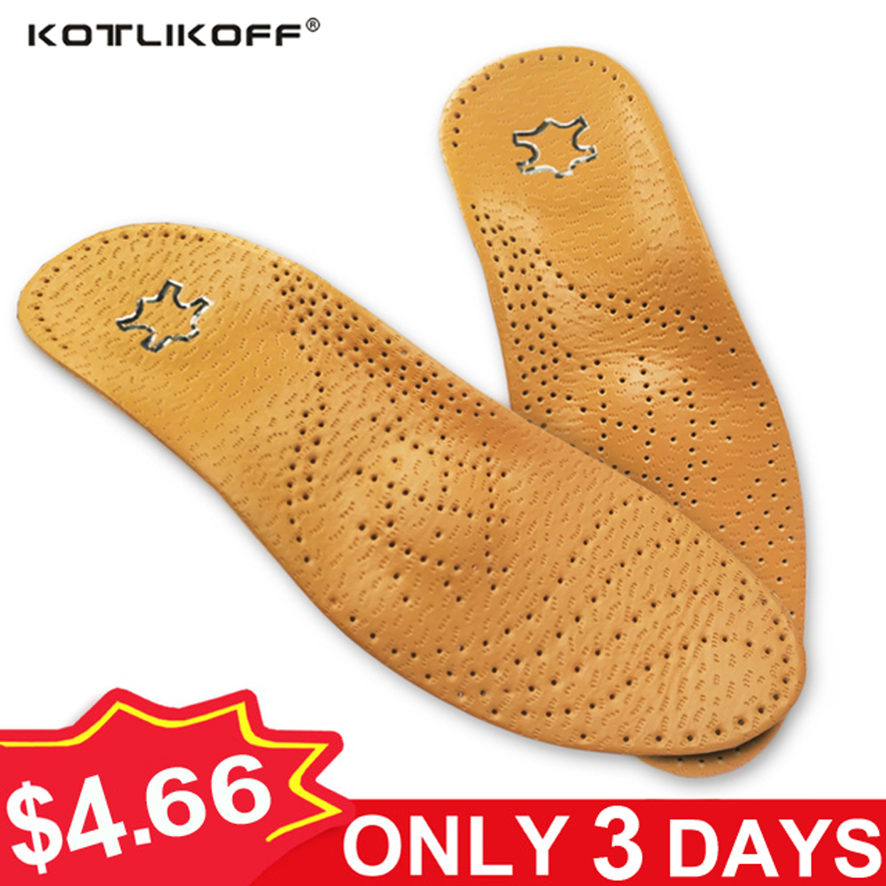e909d6cf0d KOTLIKOFF High quality Leather orthotics Insole for Flat Foot Arch Support  25mm orthopedic Silicone Insoles for