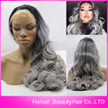Most Popular In 2016 Dark Roots 1B/Gray Hair Lace Wig Ombre Natural Black To Grey Color Body Wave Synthetic Hair Lace Front Wigs