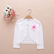Spring Summer White Cardigan Thin Girls Coat Soft Outwear For 2-9T Kids Cotton Baby