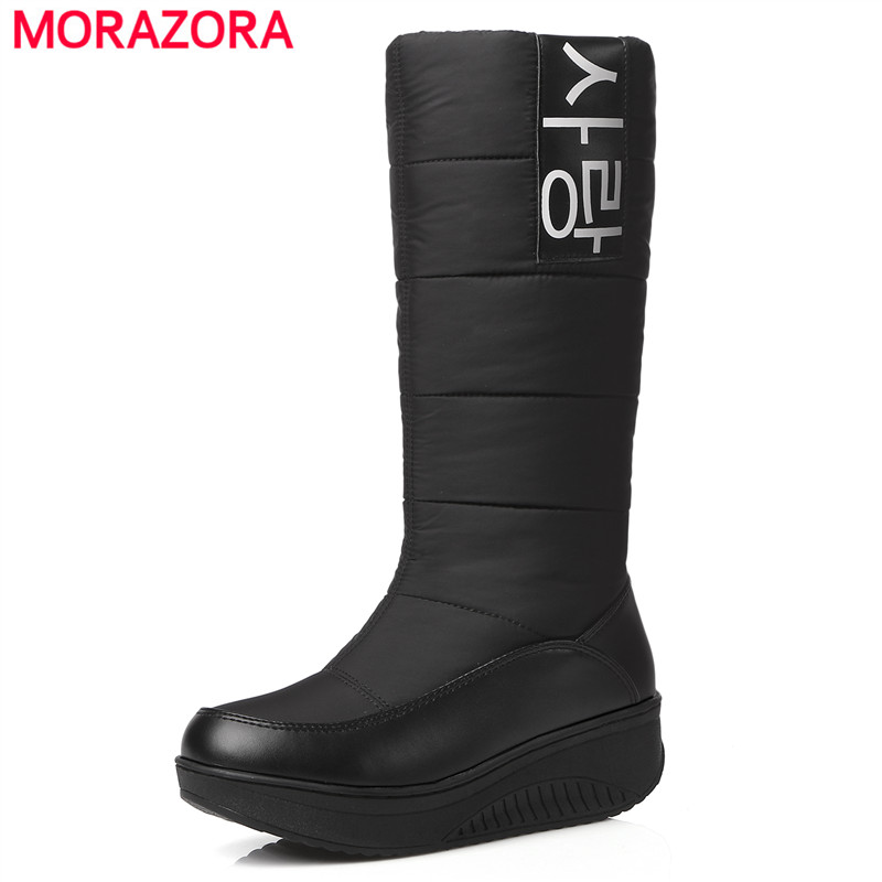 MORAZORA 2017 New high quality fur snow boots women super warm down pu leather wedges high boots female shoes woman black&white