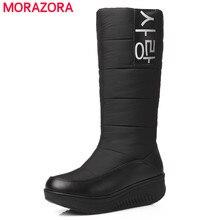 MORAZORA 2017 Nuevo de alta calidad botas de piel de nieve mujeres súper caliente abajo de la pu de las cuñas de cuero botas de mujer zapatos de mujer en blanco y negro