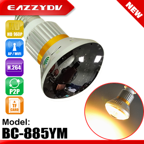 885YM HD 960P P2P Mirror Led Bulb WiFi/AP IP Network Camera 5w Warm Light Support Night Vision Motion Dection 2017 New Arrival bc 883m mirror bulb lamp camera hd 960p wifi ap hd 960p ip network camera with real light remote control 2017 new arrival