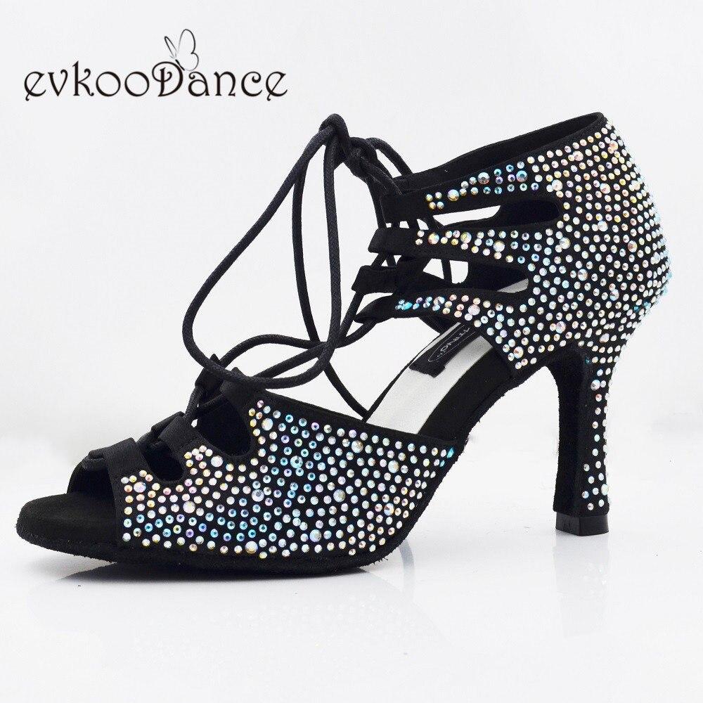 Zapatos De Baile 8.3 cm hauteur De talon noir avec strass chaussures De danse latine pour les femmes taille professionnelle US 4-12 NL276