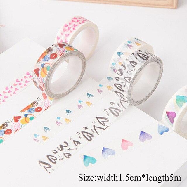 1,5 cm * 5 m papel Washi cinta Scrapbooking Set corazón decorativo cinta adhesiva amor enmascarar cinta para diario Alblum bricolaje decoración cinta