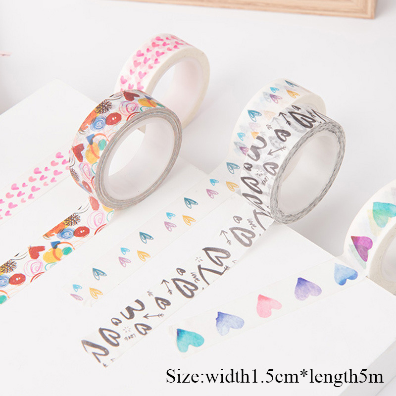 1.5cm*5m Foil Washi Tape Scrapbooking Set Heart Decorative Adhesive Tape Love Masking Tape For Alblum Diary Diy Decoration Tape