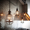 DIY Antique Brass Retro Guard Wire Cafe Loft Droplight Fixture Iron Cage Pendant Light Hanging Fitting Metal Frame Lamp Holder