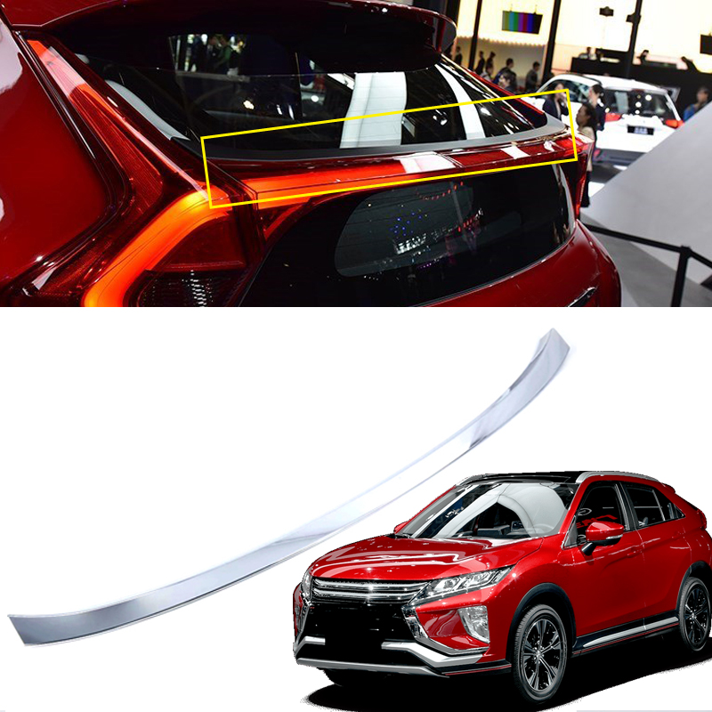 ABS Chromed Exterior Rear Trunk Spoiler Wing Cover Trim 1pcs For Mitsubishi Eclipse Cross 2018