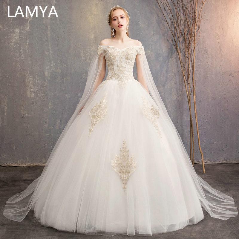 LAMYA Princess Embroidery Wedding Dress 2019 High Quality Simple Bridal Gowns Customized Elegant Wed Dresses Vestidos De Noiva