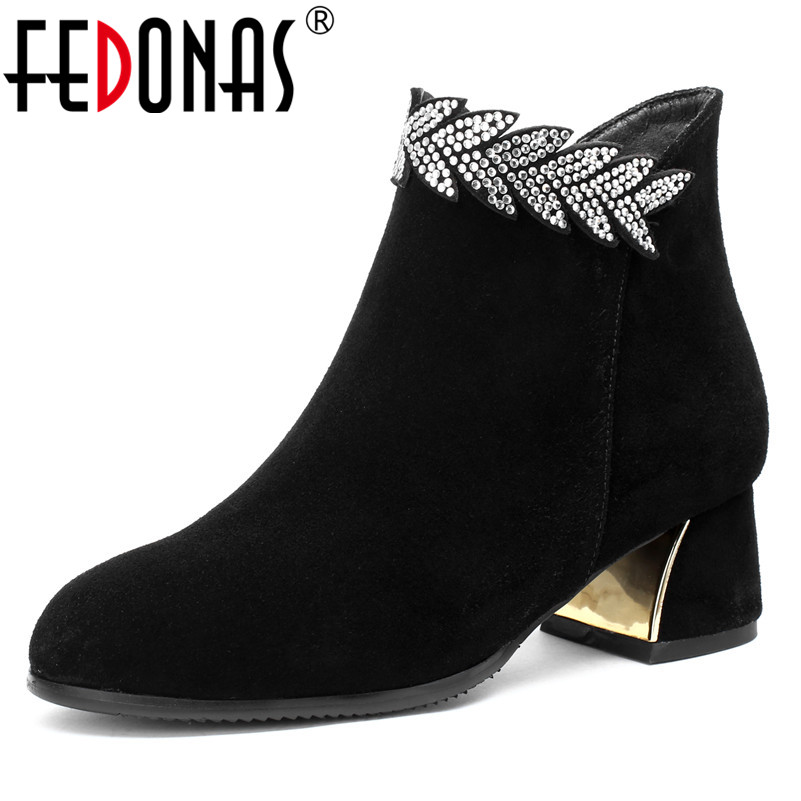 FEDONAS أزياء المرأة العلامة التجارية حذاء من الجلد البقر المدبوغ حجر الراين حزب الزفاف حفلة موسيقية أحذية امرأة عالية الكعب جولة تو أحذية كاجوال-في أحذية الكاحل من أحذية على  مجموعة 1