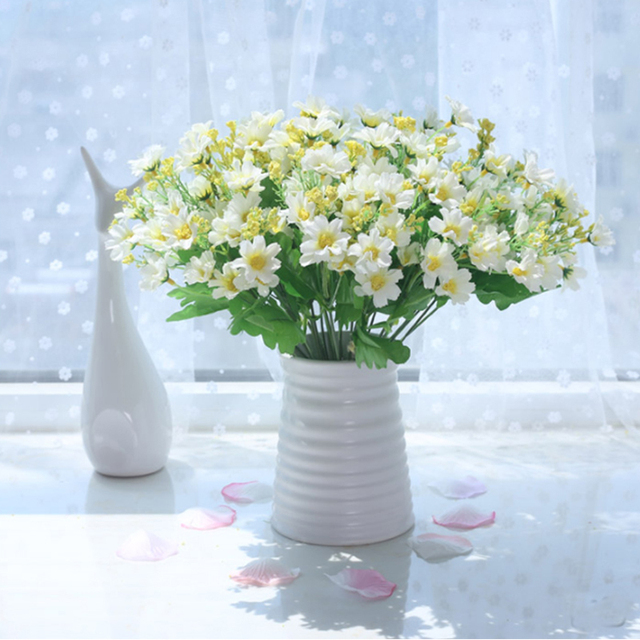 High Quality Silk Fake Flower Plastic Vase Multi Use Wedding Party Home Decoration Artificial