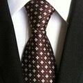 2017 Lastest Design Tie Men Top Quality Woven Tie Coffee Brown Floral Gravata