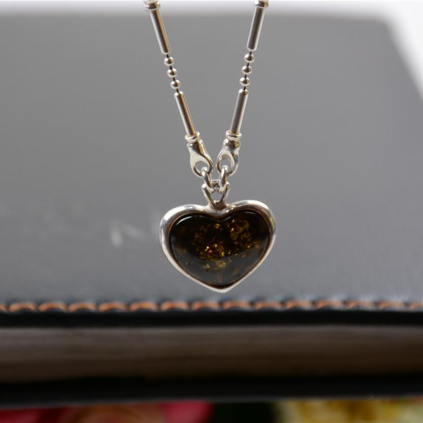 Moda Vintage Retro Real 925 joyería de plata de ley en forma de corazón colgante suéter Collar para mujer - 3