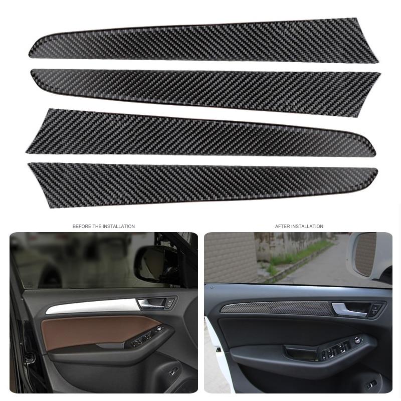 цена 4pcs Carbon Fiber Interior Window Door Panel Trim Cover Inner Sticker Decor Strip for Audi A4 B8 2009 2010 2011 2012 2013-2016