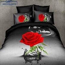4PCS 3D Black Rose Duvet Cover Flower Colourful Polyester Brief Bed Linens Flat Sheet Queen Size