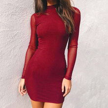Women Sexy Slim Dresses Bodycon Solid Tulle Long Sleeve Patchwork Mesh Autumn Spring Short Mini Dresses MT1863(China)