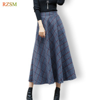 Winter Skirts Women 2017 Long Elegant Pleated Skirts Large Size A Line Thick Warm Grid Wool