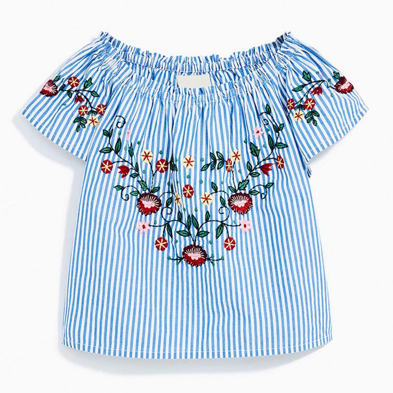 Hell Wenig Maven Kinder Kleidung 2019 Sommer Baby Mädchen Kleidung Kurzarm T Tops Mädchen Striped Blume Marke T Shirt 51339 Mangelware Tees Oberteile Und T-shirts