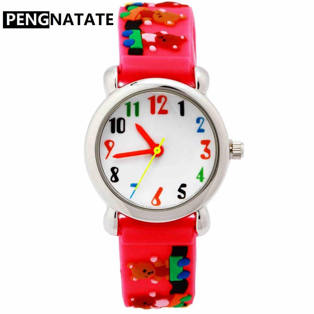PENGNATATE Children Quartz Watch Girls Lovely Gift Red Strap 3D Cartoon Silicone Wristwatches Waterproof Kids Hand Watches Gifts