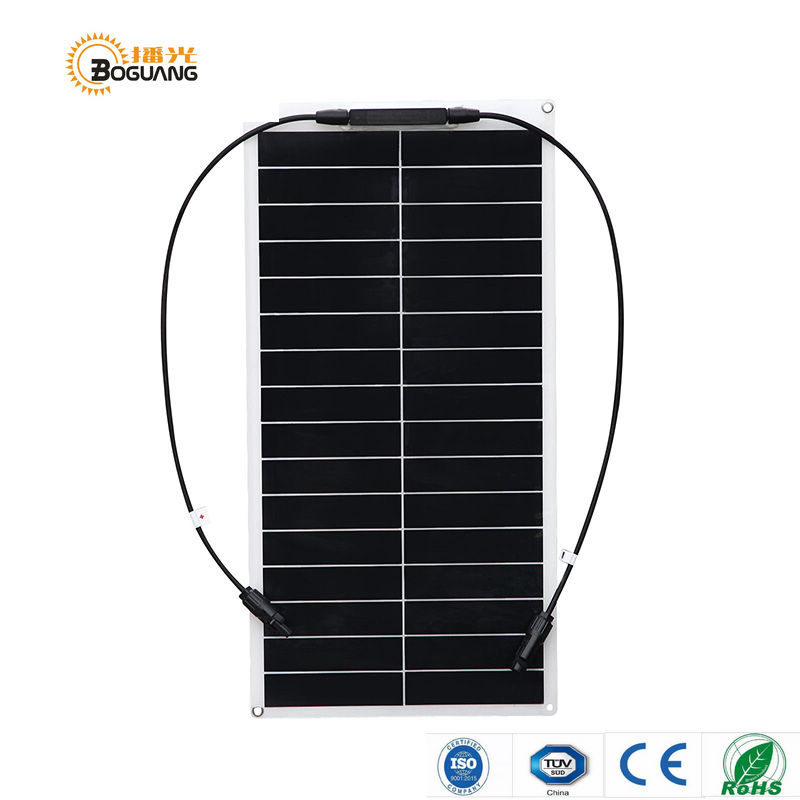 BOGUANG 25W 18V flexible solar panel mono module for 12V battery with USA solar cell with MC4 connector cell DIY kits charger solarparts 2x 180w flexible solar panel cell system diy kits 12v for rv boat home front junction box mc4 connector 125 125mm sun
