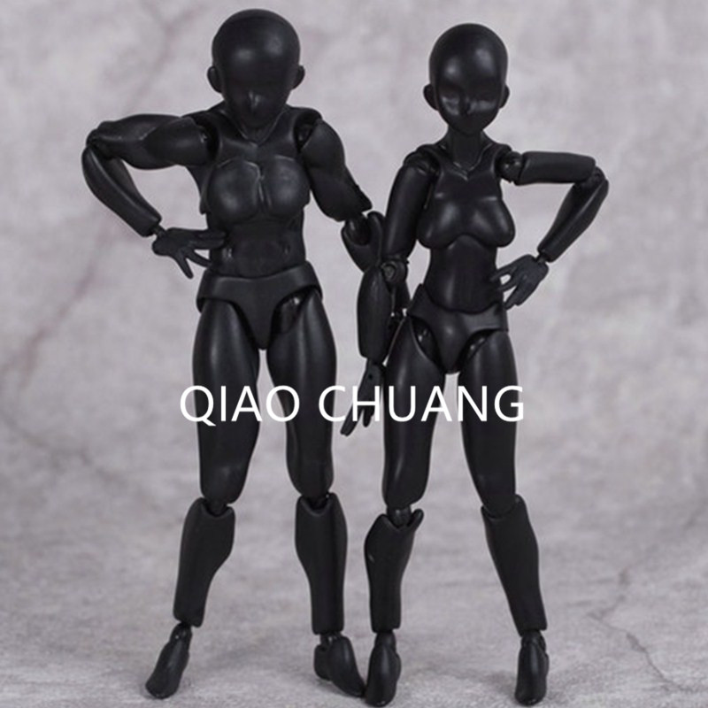 New Cartoon Movable Figma Black Archetype He/She Male Female 13cm PVC Action Figure Anime Brinquedos Gifts Conan X Suspect L1549