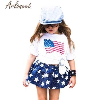 e21499d37 ARLONEET ropa bebé niñas blanco t camisa faldas cortas 4th de Julio de  estrellas y rayas traje de 2 piezas 2019 niñas trajes de verano
