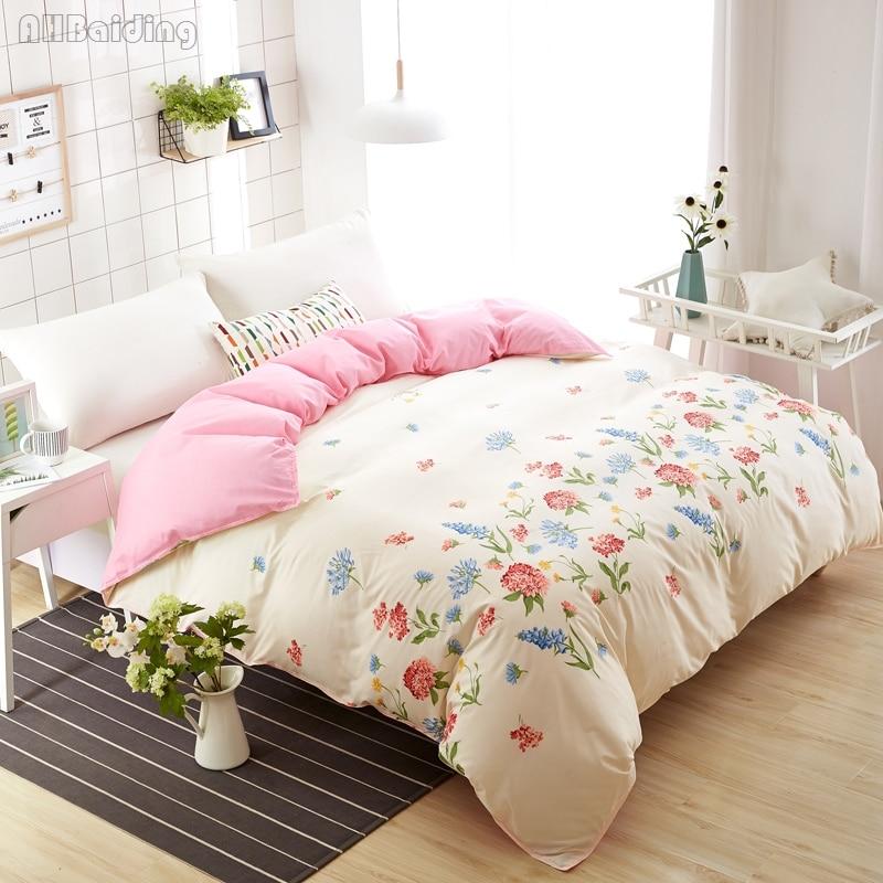 Home Textile Fashion Beige Lavender Duvet Cover One Piece Flower Quilt Cover 150x200cm/180x220cm/200x230cm Bedding Set Bed Linen