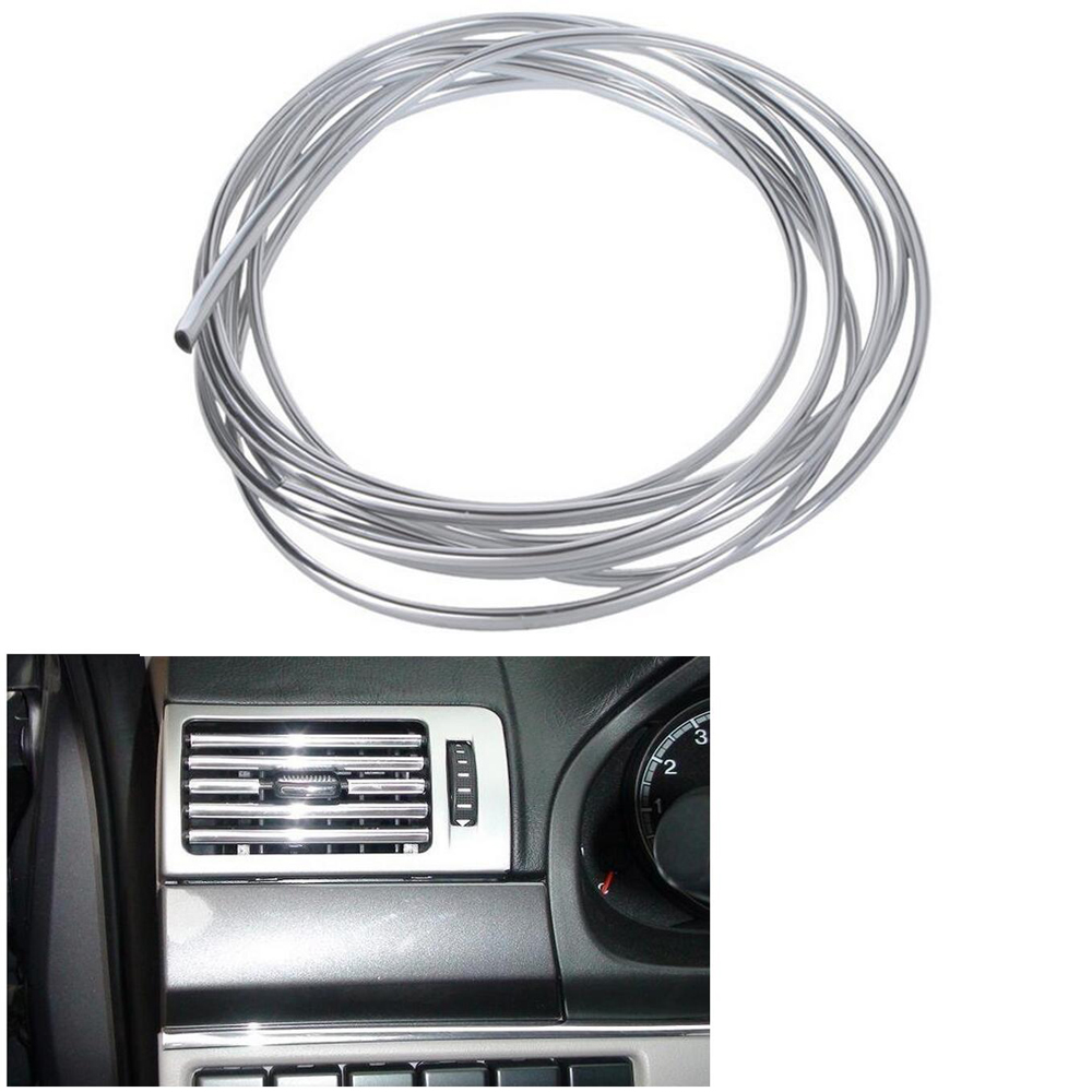 Auto Fastener & Clip New 4m X 8mm U Shape Diy Car Interior Air Vent Grille Switch Rim Trim Outlet Decoration Strip Moulding Chrome Silver